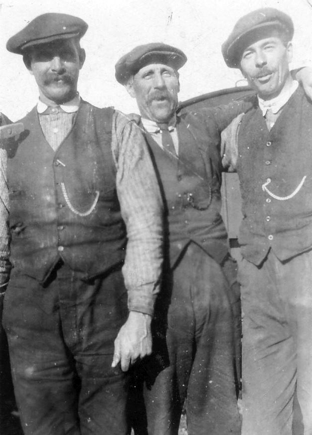 Three railway workers at Skelbo