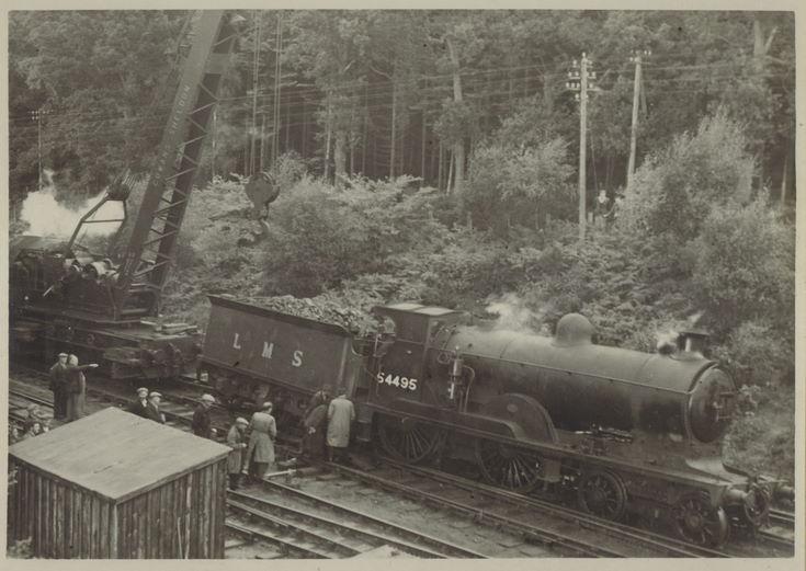 Derailment of a locomotive at the Mound c 1930
