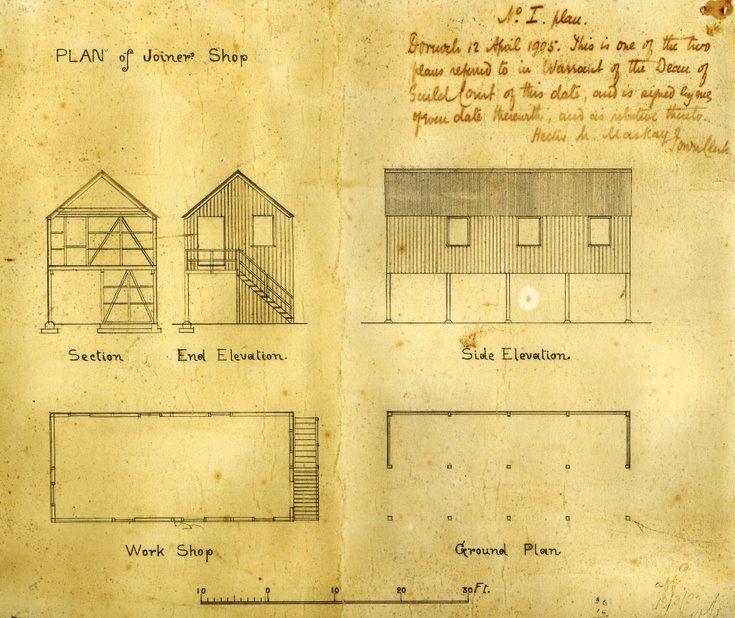 Architect's plans for Grants Joiner's Yard workshop 1905
