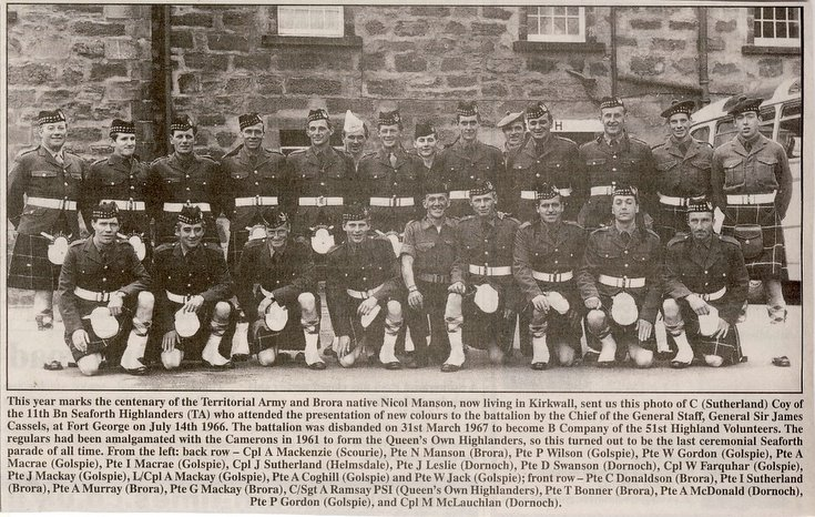 C (Sutherland) Company 11th Bn Seaforth Highlanders TA