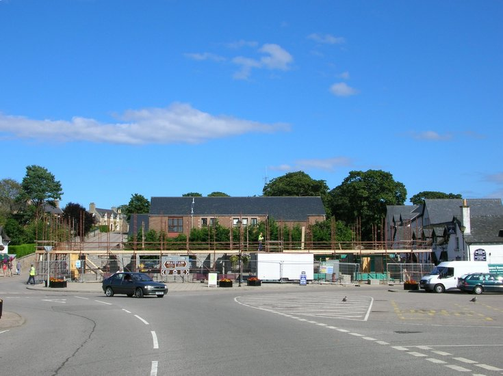 Early stages of construction on old Sutherland Arms Hotel site