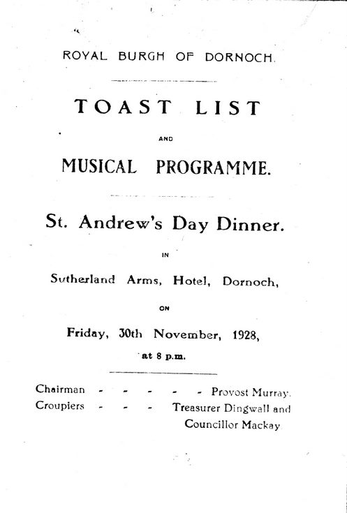 St Andrews Dinner 1928 Toast List and Music Programme