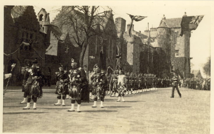 Seaforth Highlanders with Pipe Band on parade in The Square