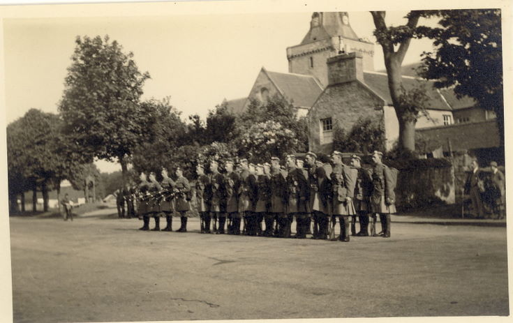 Seaforth Highlanders on parade in The Square, Dornoch 1939