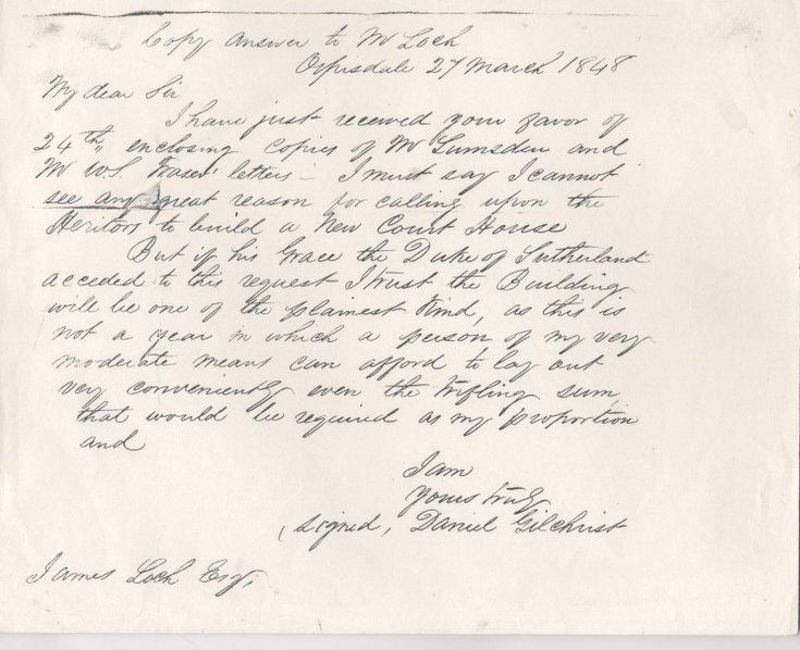 Letter from Daniel Gilchrist to James Loch re courthouse