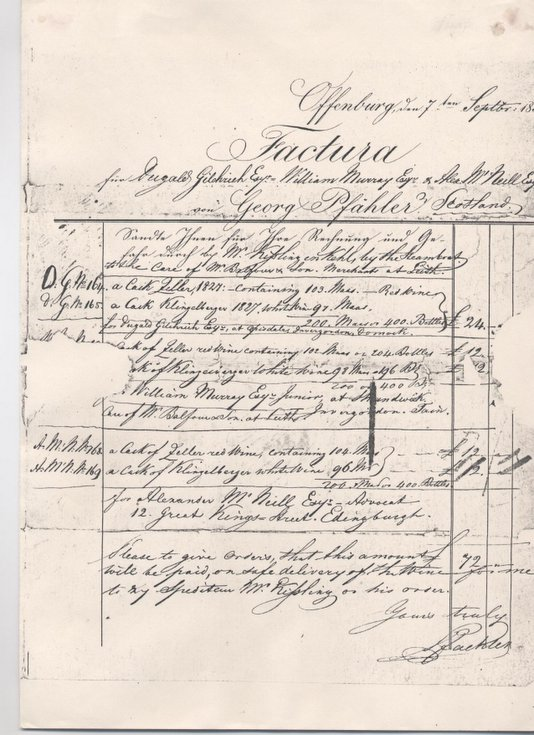Invoice to Dugald Gilchrist