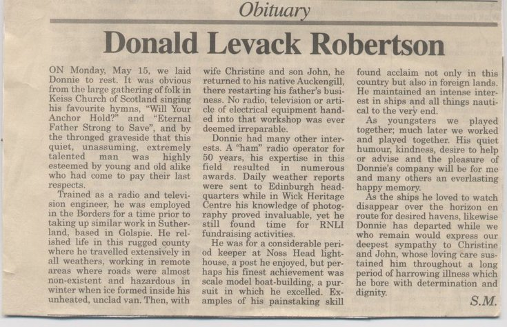 Obituary for Donald Levack Robertson