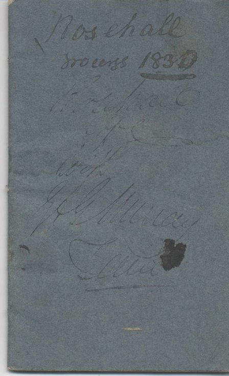 Rosehall account book 1830