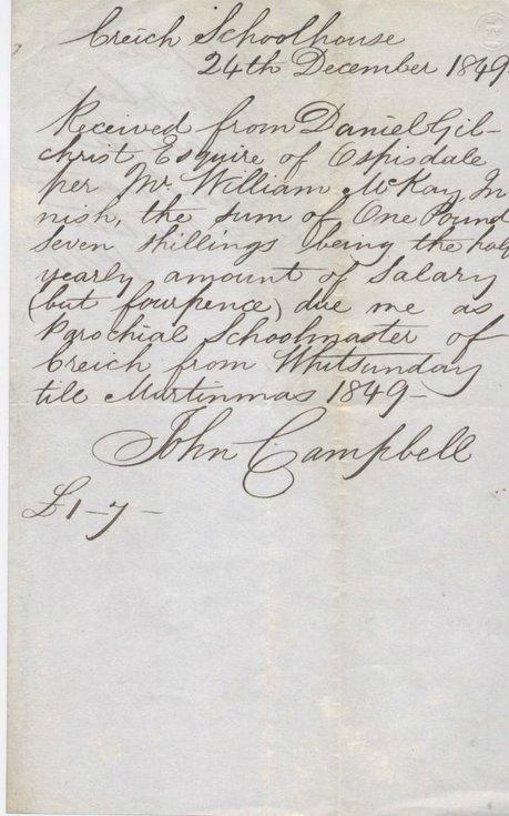 Receipt for Creich schoolmaster's salary 1849