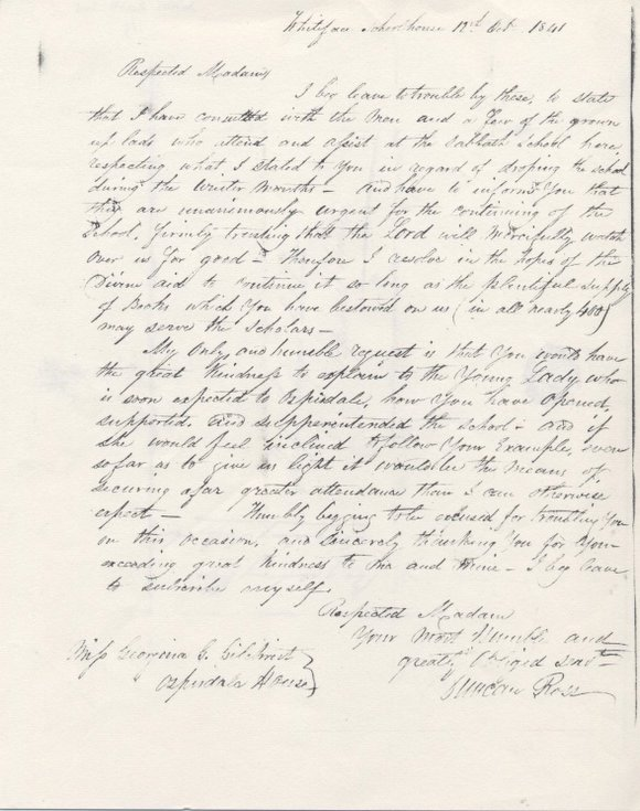 Letter re Sabbath School at Whiteface 1841