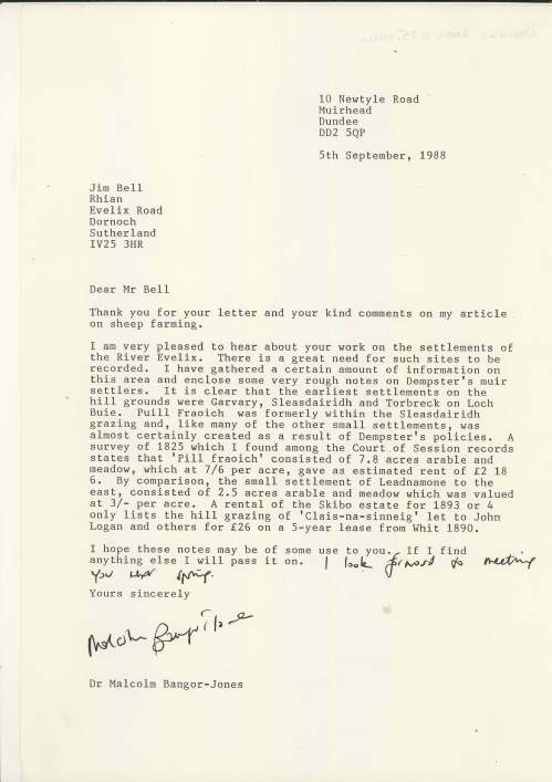 Letters to Jim Bell from Malcolm Bangor-Jones