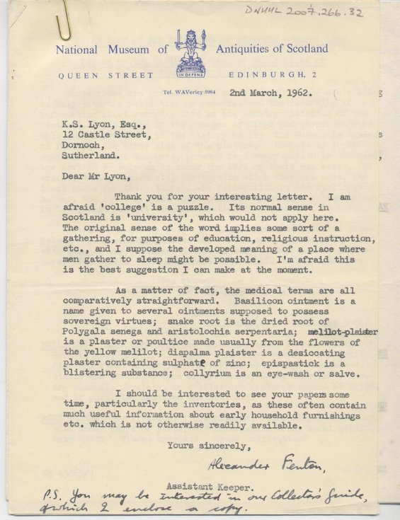 Correspondence re Dunrobin inventory 1962
