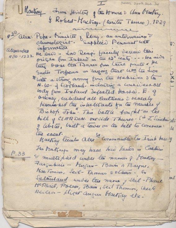 Notes on the Mackay family