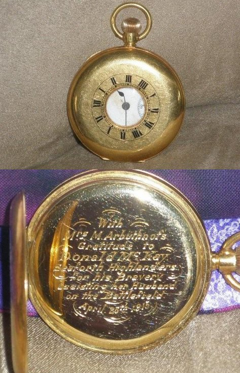 Watch presented to Donald Mackay relating to WW1