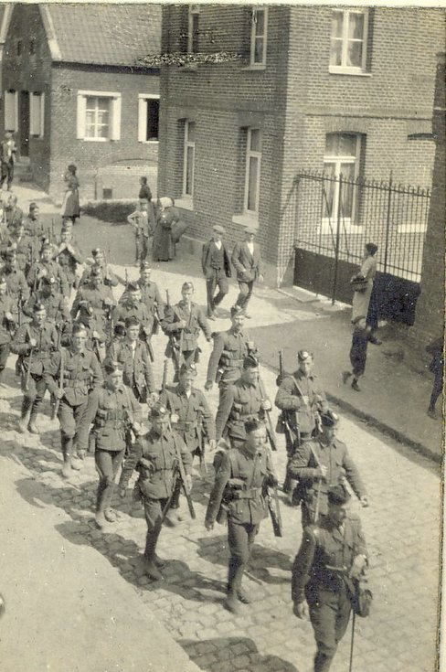 'D' Company 1st Bn Cameronians route marching at Maretz