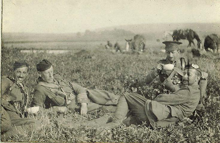 Officer group at halt during retreat from Mons