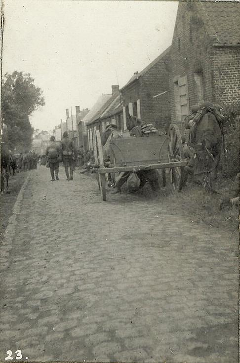 A wayside halt when marching to reinforce the left at Le Cateau