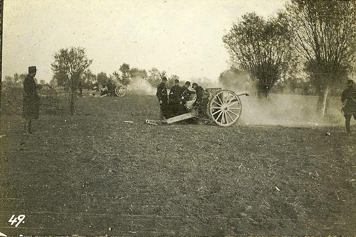 A battery of French guns in action