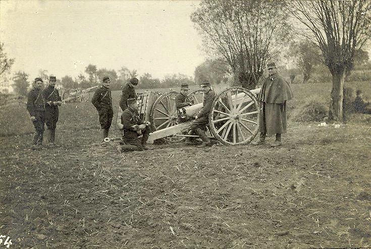 French guns in action.  No. 1 gun & its team