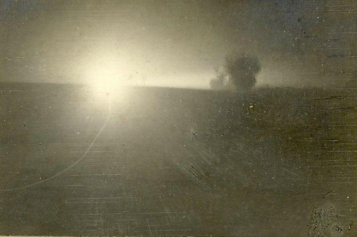 A German searchlight at night