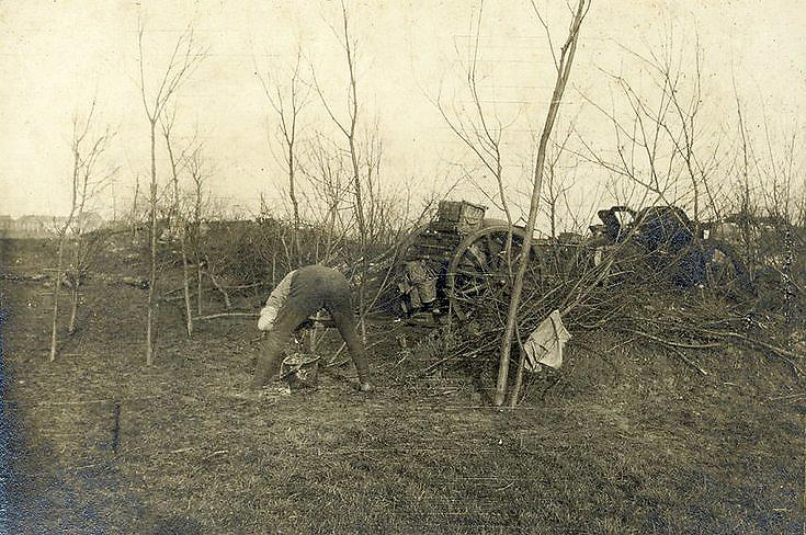 "A 4.5"" Howitzer in concealed position at Houplines"
