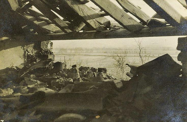 British lines from the shelled roof of farm