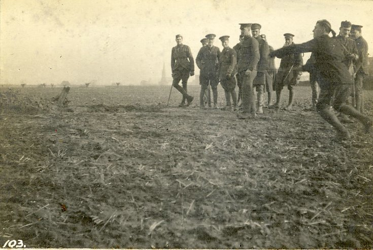 'Grenadiers' practising bomb throwing