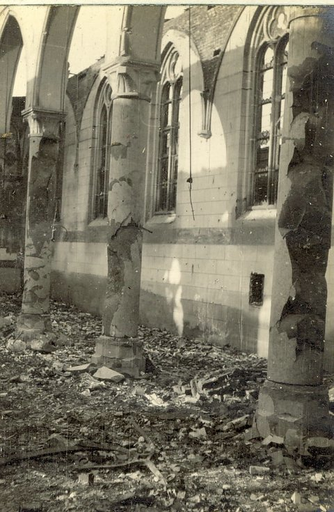 Interior of Church destroyed by German guns