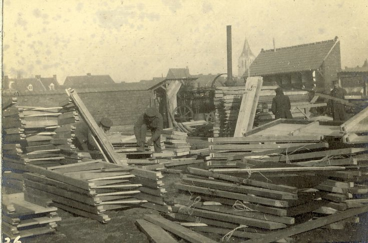 "The R.E. yard - piles of ""dug-out"" frames"