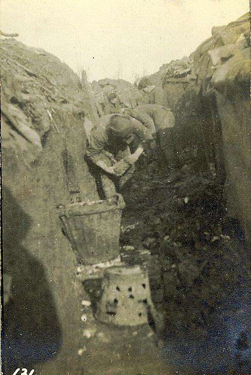 Brick laying to keep trenches dry