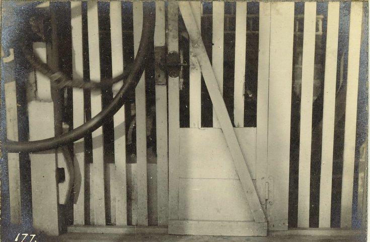Dog behind barred enclosure