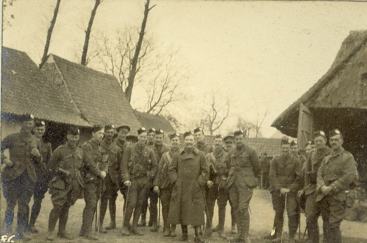 Col. Vandaleur with his officers in farm yard