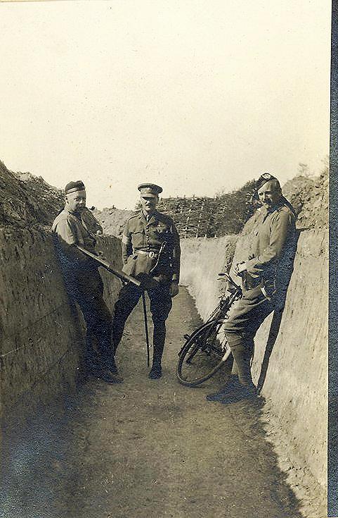Maj.Chaplin, Maj.Heywood, Capt.Darling in Communication trench