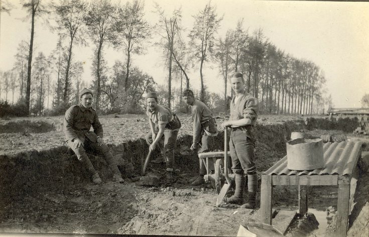 Men working on Communication trench