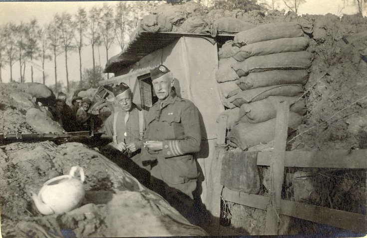 Headquarters dug-out.  Col. Robertson, Major. Chaplin