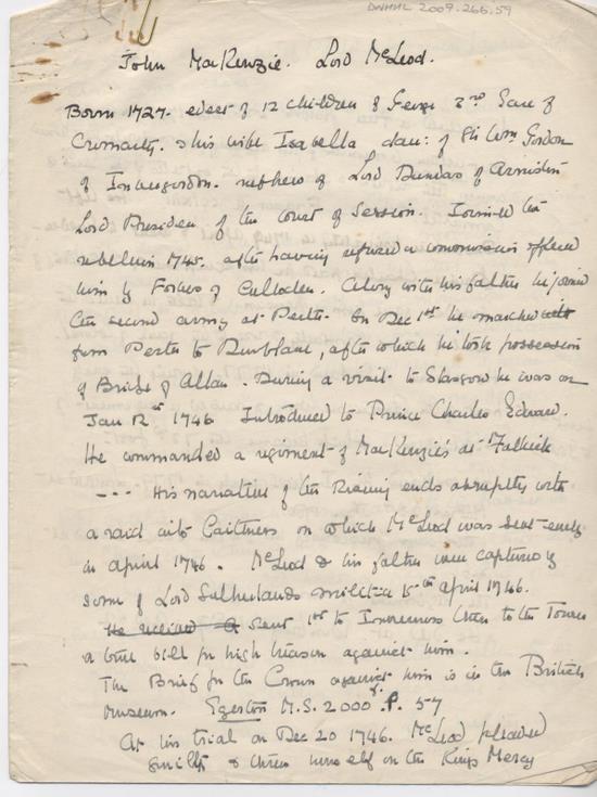Notes on John Mackenzie Lord McLeod