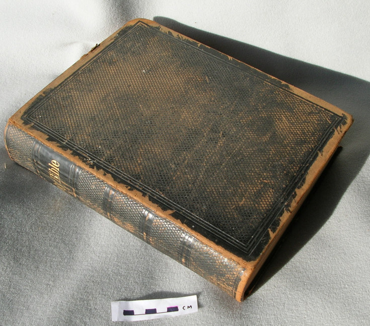 Bible used at services in Carnegie Hall, Clashmore