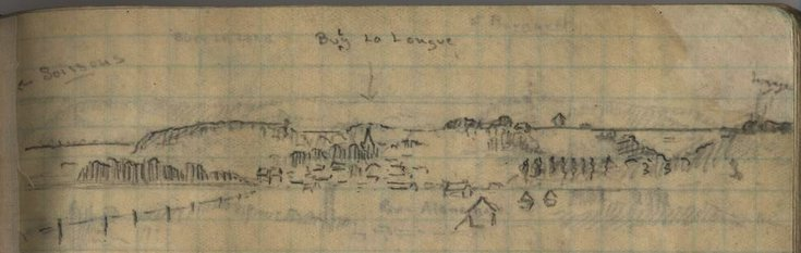 Sketch from War diary of  Capt Ronald Hugh Walrond Rose