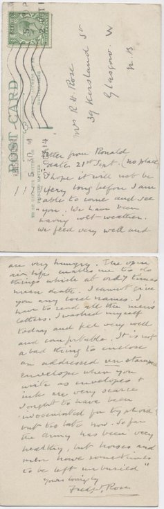 Postcard from Frederick Rose to Hetty Rose