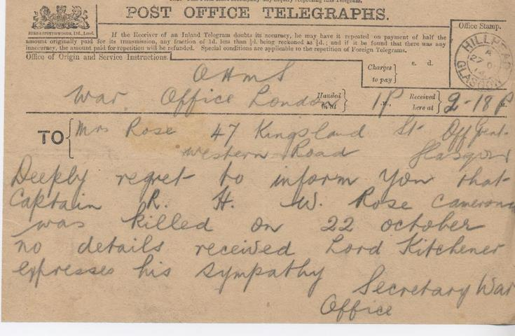Post Office Telegram reporting Capt Rose killed in action
