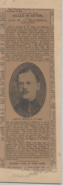 Newspaper Obituary Capt Rose