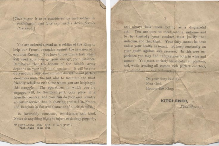 Document issued to British Expeditionary Force 1914