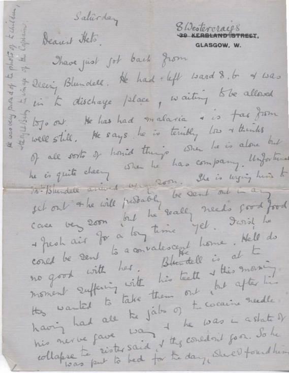 Letter to Mrs Hetty Rose concerning Pte Blundell