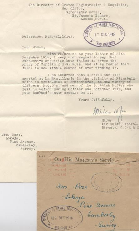 Letter From Graves Registration to Mrs Hetty Rose