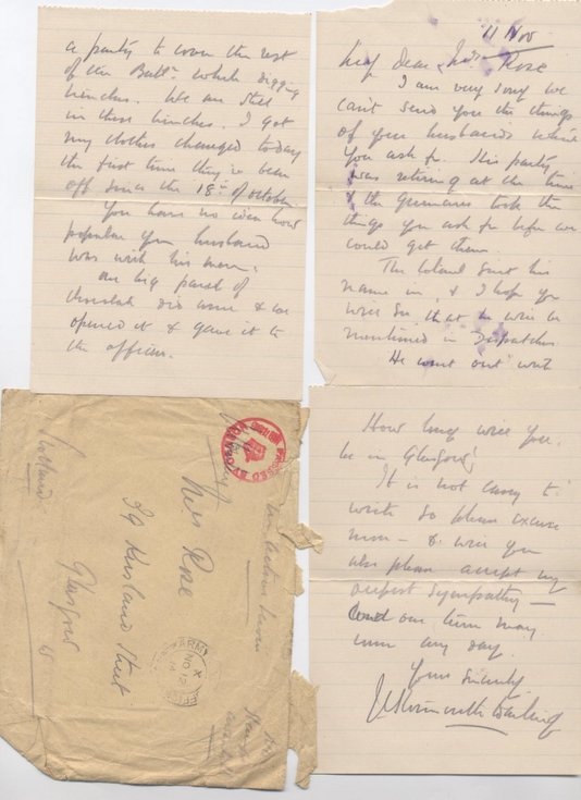 Letter to Mrs Hetty Rose concerning personal effects
