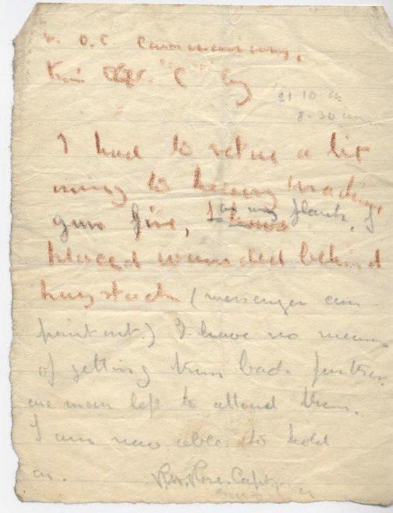 Last communication of Capt Rose 21 Oct 1914