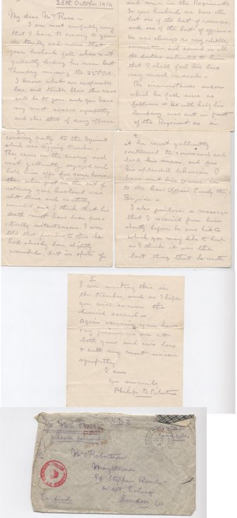 Letter from Col Robertson to Mrs Rose