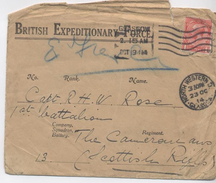 Envelope of Mrs Rose's returned letter