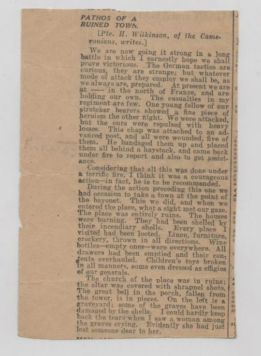 Newspaper cutting ''Pathos of a Ruined Town'