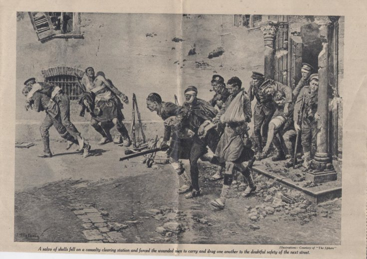 Newspaper photograph of a casualty clearing station